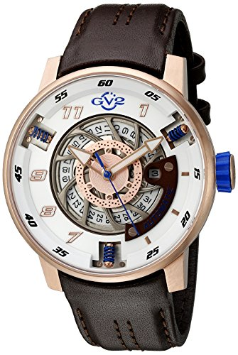 GV2 by Gevril Motorcycle Sport Mens Swiss Automatic Brown Leather Strap Watch, (Model: 1302) (Watch Swiss Sports Stainless Steel)