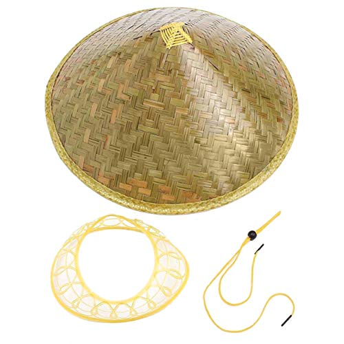 Ironheel Bamboo Straw Hat,Chinese Oriental Coolie Sun Hat Brimmed Bamboo Straw Hat Tourism Rain Cap Cone Conical Farmer Unisex Fishing Rice Hat ()