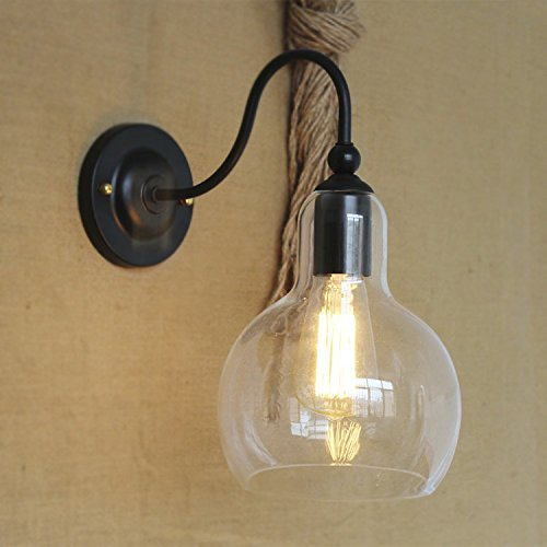 Industrial Single Light Wall Sconce-LITFAD Edison Antique Glass Shade Wall Mounted Light Fixture - Industrial Single