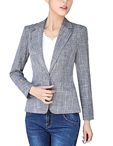 MFrannie Women Cotton Linen One Button Tweed Casual Work Lined Blazer Deep Gray (Lined Tweed Coat)