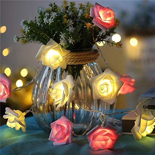 Rose Lights, Rose Flower Fairy String Light with Multicolor, Battery Operated Night Light with Remote Control for Bedroom, Mirror, Walls, Windows, Indoor Decoration, Christmas£¨10ft 20 LEDs