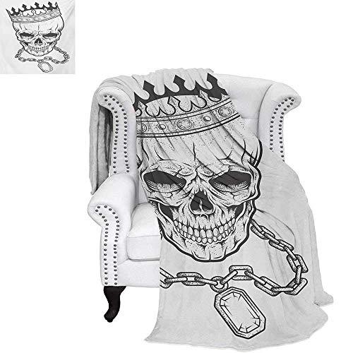CHASOEA King Custom Design Cozy Flannel Blanket Sketchy Skull with Crown Hip Hop Street Style Necklace Chain Gem Image Print Weave Pattern Blanket 70