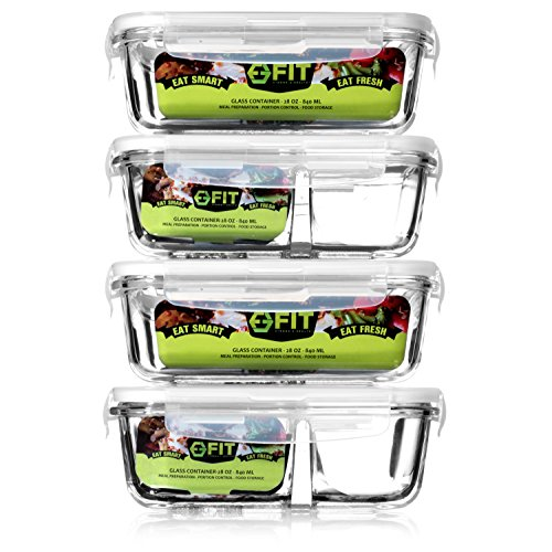 1 and 2 Compartment Glass Meal Prep Portion Control Food Storage Containers | BPA Free, Microwave, Oven, and Dishwasher safe | Airtight and Leak Proof Lids | Bento Box Containers