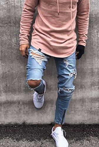 Slim Skinny Pantalones Hombre Afligido Claro Denim Para Cremallera Pie Rotos Elasticidad Fit Vaquero De Recta Azul Delgado Byqny Sin Jeans Pernera gWYqUXxA