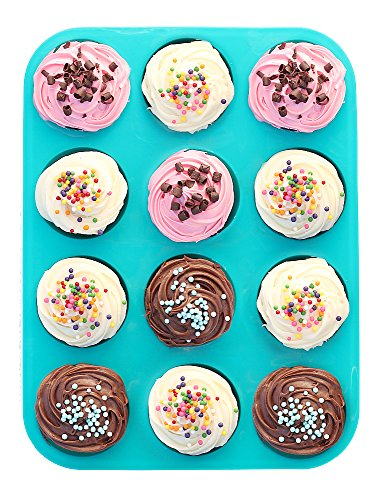 Premium Silicone Muffin Pan & Cupcake Pan - Non-BPA & Dishwasher Safe - No More Sticking or Scrubbing! No More Muffin Liners or Cupcake Liners, Plus Ebook by Delightful Mom Food