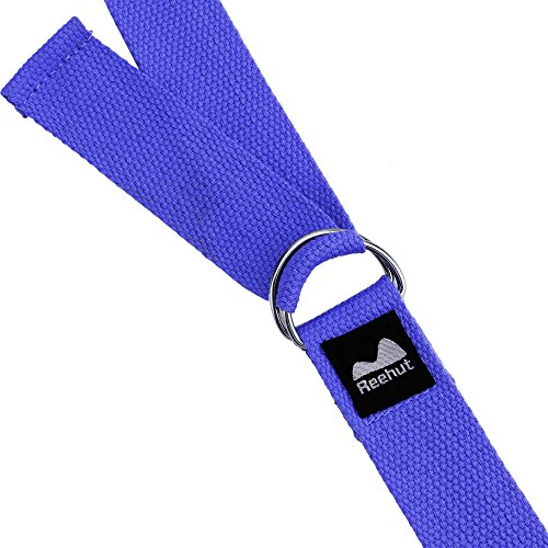Reehut Fitness Exercise Yoga Strap (8ft) w/ Adjustable D-Ring Buckle for Stretching, Flexibility and Physical Therapy (Blue)