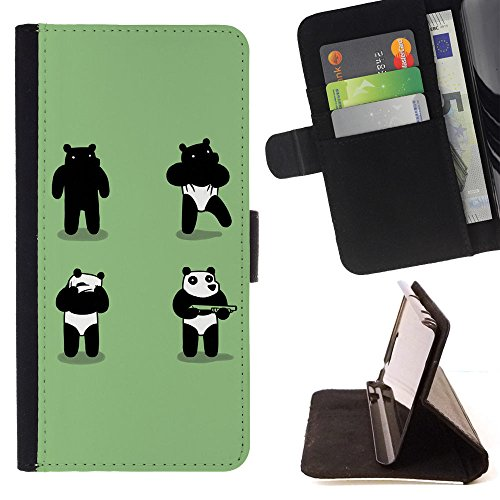 XP-Tech / Flip Wallet Diary PU Leather Case Cover With Card Slot for SAMSUNG Galaxy S5 Mini (NOT for S5) / Galaxy S5 Mini Duos - Funny Panda Costume Bear (Costume Duos)