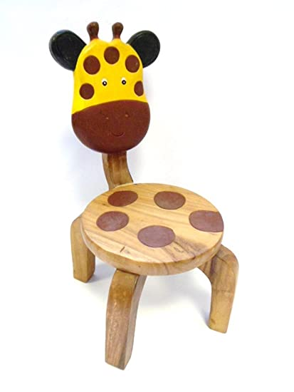 Hand Carved Wooden Giraffe Childrens Chair Amazoncouk Kitchen Home