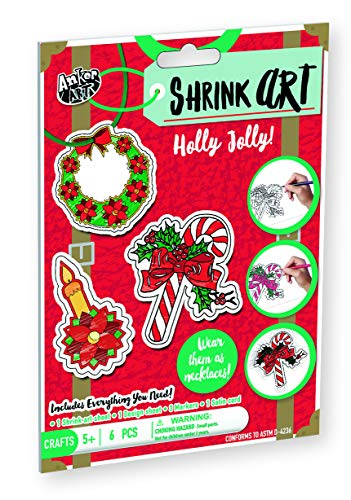 - Shrink Art for Christmas DIY Easy Craft Activity Kit for Kids Best Stocking Stuffer or Gift Idea for Holidays! Make Xmas Ornaments, Keychains or Necklace (Holly Jolly)