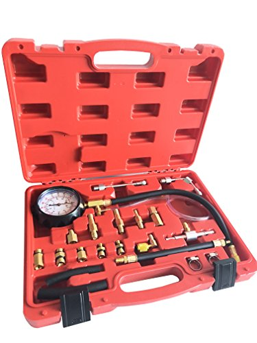 GooMeng 0-140 PSI Fuel Injection Pressure Tester Kit,Automotive Fuel Test kit,with Case for Gasoline-Driven Car,Truck,RV,SUV & ATV(TU-114) (Best Fuel Pressure Tester)
