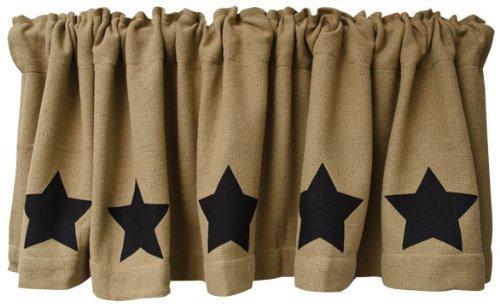 Amazon.com: Black Star Burlap Window Curtain Valance Natural Tan ...