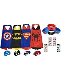 Cartoon Dress up Costumes Superhero Capes for Kids with Masks Wristbands & Stickers