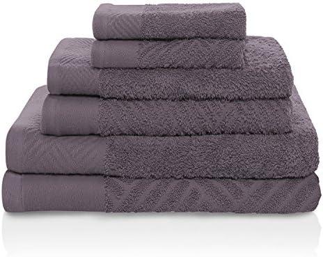 Face Set 6-pc Black 100/% Egyptian Cotton Basket Weave Jacquard Towel Hand