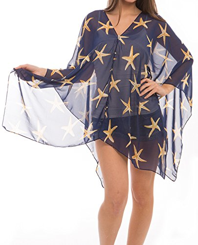 - Women's Fashion Beach Wear Sheer Chiffon Wrap Tunic Swimwear Cover Up (STARFISH, NAVY)
