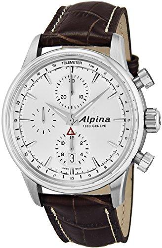 Alpina Al-750S4e6 Men's Alpiner Automatic Chrono Brown Genuine Leather Silver-Tone Dial Watch