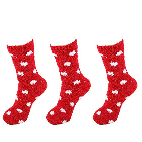 - Super Soft Warm Microfiber Cozy Fuzzy Polka Dot Socks - 3 Pairs - 05 Candy Apple