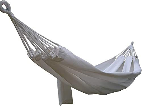 CARAPEAK Large Brazilian Cotton Polyester Double Hammock for Garden, Backyard or Camping – Indoor Outdoor – Comfortable 2 Person Portable Folding Hammock Bed 146 L x 60 W, White