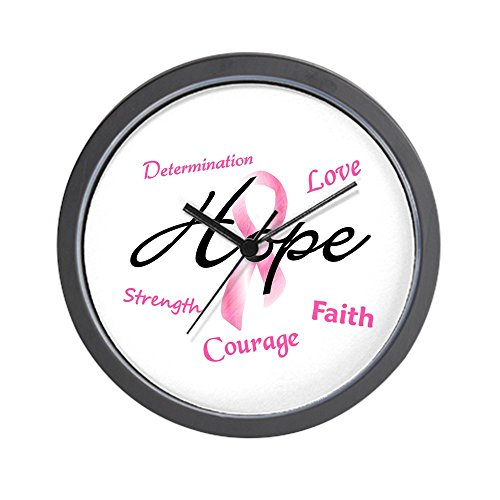 CafePress - Courage Faith Love Hope 5 (Pink) Wall Clock - Unique Decorative 10'' Wall Clock by CafePress