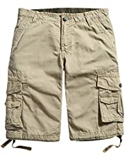 famuka Mens Casual Cotton Military Style Multi Pocket Cargo Shorts