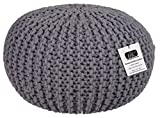 EHC 100% Cotton Round Handmade Double Knitted Foot Stool Braided Cushion Pouffe, Smoke