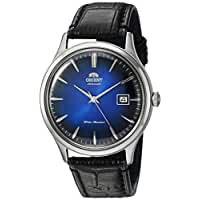Orient Men's 'Bambino Version 4' Japanese Automatic Stainless Steel and Leather Dress Watch, Color:Black (Model: FAC08004D0)