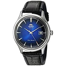 Orient Men's 'Bambino Version 4' Japanese Automatic Stainless Steel and Leather Dress Watch, Color:Black