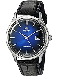 Men's 'Bambino Version 4' Japanese Automatic Stainless Steel and Leather Dress Watch, Color:Black (Model: FAC08004D0)