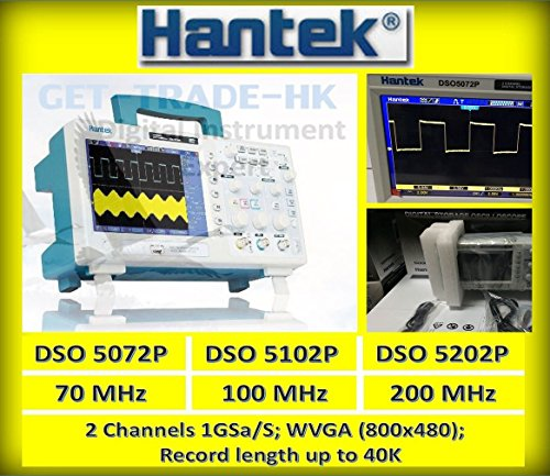 Hantek DSO5102P 100MHz 2CH Digital Oscilloscope 1GSa/s Re...