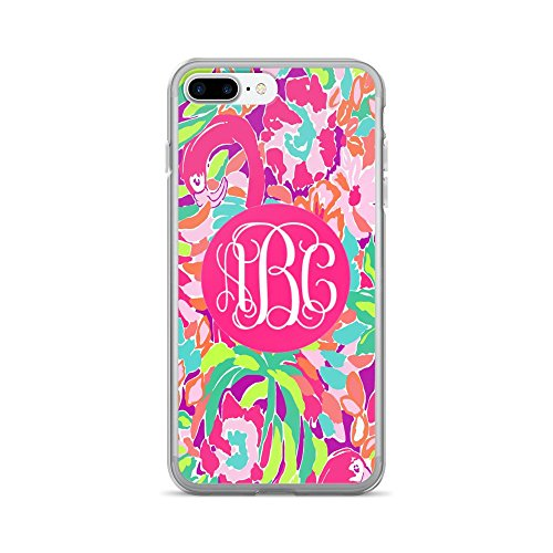 (Custom Monogrammed - Lilly Inspired Print - iPhone 7 Plus or 8 Plus Case (Flamingo))