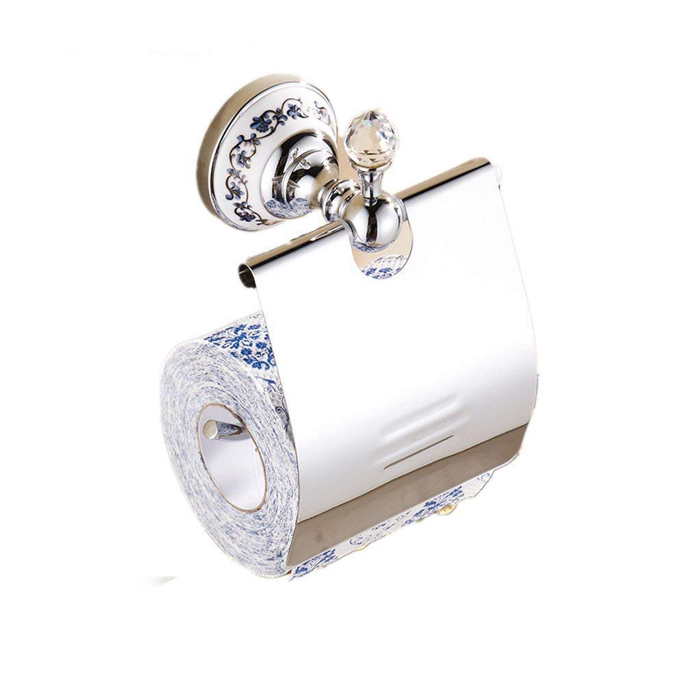 Tissue Dispenser Roll Holder European Crystal Copper Gold Paper Towel Holder Bathroom Bathroom Jade Hanging Decoration Toilet Rack, Silver, Drilling