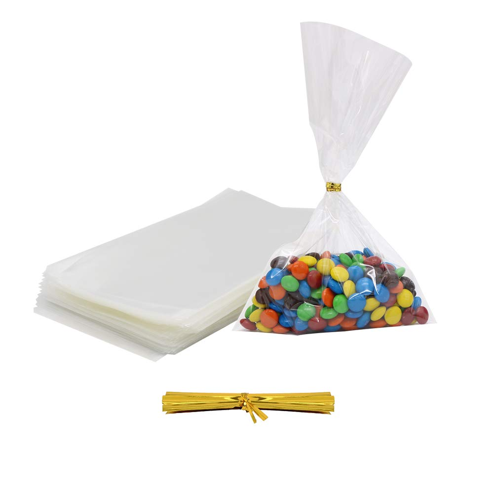 4 by 6 inch 1.4 Mil Clear OPP Bags with 350pcs Twist Ties for Bakery HRX Package 300 Pack Treat Bags Cookies Candies,Dessert