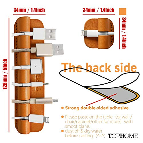 TOPHOME Multifunction Cable Organizer Cord Management Wire Management System Self Adhesive Genuine Leather USB Cable Clips 3 Pieces Orange by TOPHOME (Image #3)