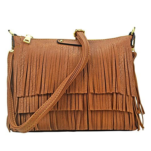 Sibalasi Hippie Fringe Tassel Crossbody Bags Women Chic Hobo Messenger Bag Lightweight Black Pink Shoulder bag Handbag (Brown) - Brown Chic Handbag