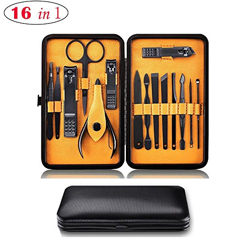 Professional Pedicure Manicure Set For Mens Women, Kobwa 16 in 1 Stainless Steel Nail Toenail Clippers Set Grooming Kit with Travel Gift Case by KOBWA