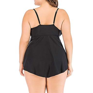 05becf4468f18 Amazon.com: chengzhijianzhu-Swimsuit Women's Cute Ladies Black Plus Size  Control Tummy Costume Tankini Swim Dress Bikini Bathing Swimsuit: Clothing