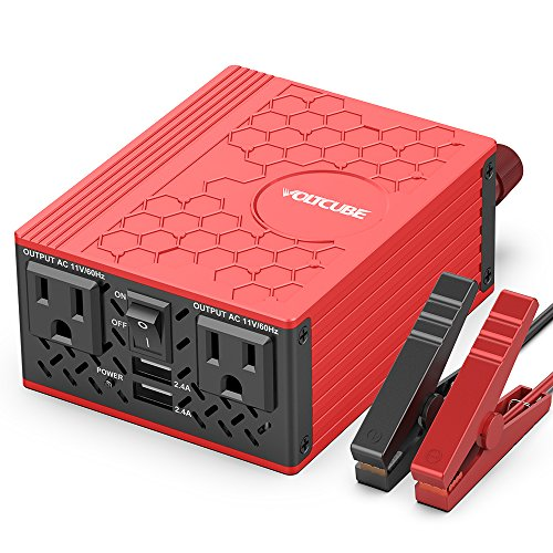 VOLTCUBE 400W Power Inverter, 12V DC to 110V AC Car Adapter with Twin 2.4A USB Ports and Two Independent AC Outlets (Red) by VOLTCUBE