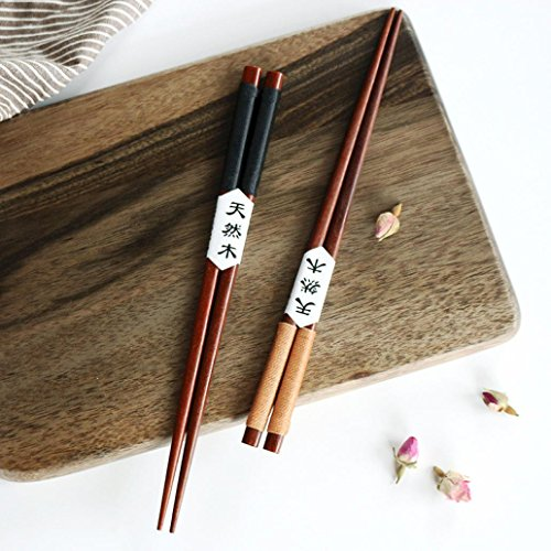 Iuhan 2 Pairs Handmade Japanese Natural Chestnut Wood Chopsticks Set Value ()