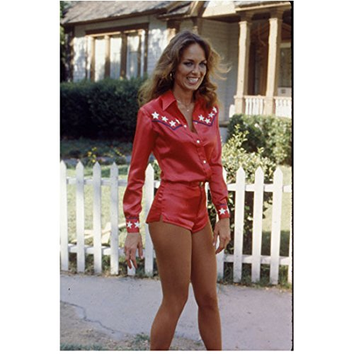Catherine Bach 8 inch x 10 inch Photo The Dukes of Hazzard Thunderbolf and Lightfoot African Skies Standing in Red/White Shorts Outfit kn