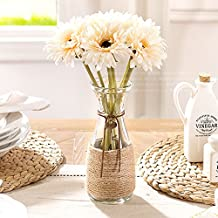 DW&HX Home Artificial Flowers Set On Table Fake Decorations For Living Room Simulation Glass Vase And 7 Short Gerbera-C