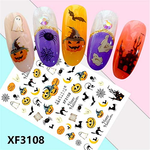 Horror Design Halloween 3D Nail Art Stickers Manicure Adhesive Transfer Decals ()