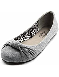 Women's Knotted Front Canvas Round Toe Ballet Flats