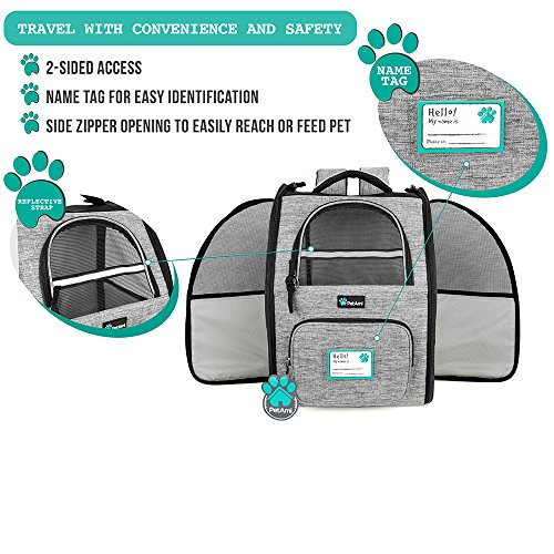 PetAmi Deluxe Pet Carrier Backpack for Small Cats and Dogs, Puppies | Ventilated Design, Two-Sided Entry, Safety Features and Cushion Back Support | For Travel, Hiking, Outdoor Use (Heather Gray) by PetAmi (Image #3)