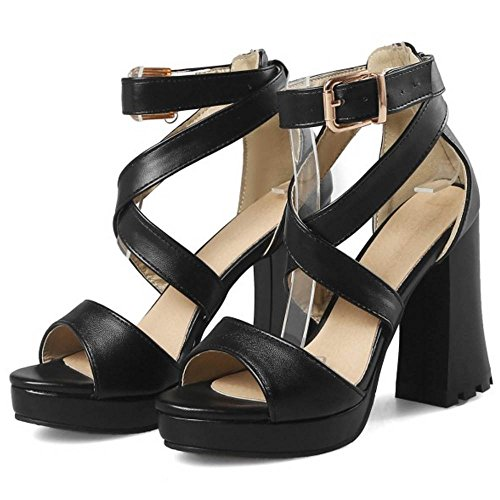 TAOFFEN Black Sandales Sangle Peep Chunky Croisée Toe Femmes Chaussures qCFwHrqax