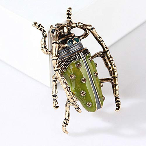 (Vintage Big Beetle Insect Brooch Enamel Animal Badge Corsage Pins Jewelry Gift (Color - Gold))