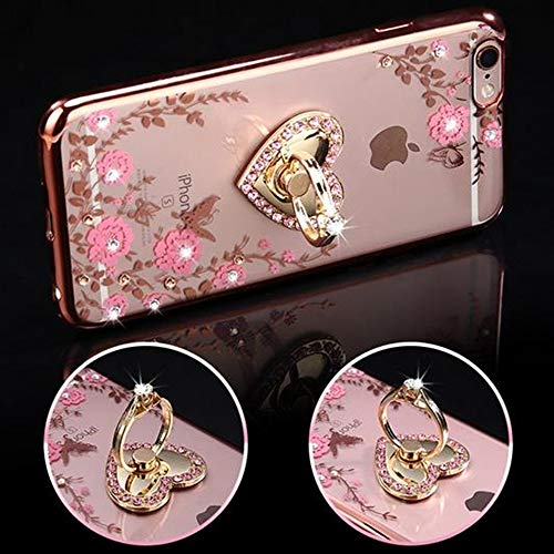 - iPhone 7 Plus Floral Crystal TPU Case-Lozeguyc Soft Slim Bling Plating Rubber Cover for iPhone 7 Plus 5.5 Inch with Rhinestone Diamond and Detachable 360 Ring Stand-Rose Gold and Pink