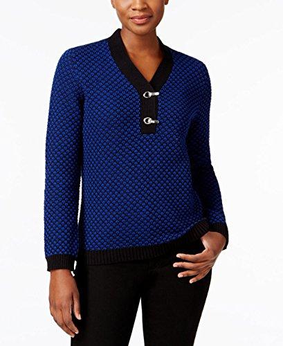 Cotton Metallic Sweater - Karen Scott Metallic-Hardware Cotton Sweater (L, Blue Combo)