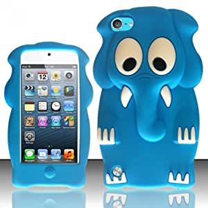 For ipod touch 5 itouch 5g 5th Generation - Elephant Style 3D Design Silicone Flexible Cover Case - Baby Blue SCELE