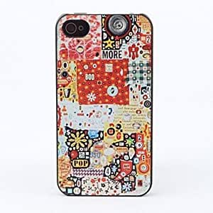 QJM Mixed Icons Style Protective Back Case for iPhone 4/4S
