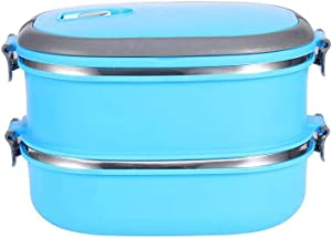 QCGZJCY Bento Lunch Box Stainless Steel Thermal Food Jar 2-Tier Bento Box Stackable Box Lunch Food Container with Arched Handle for Hot Food Blue