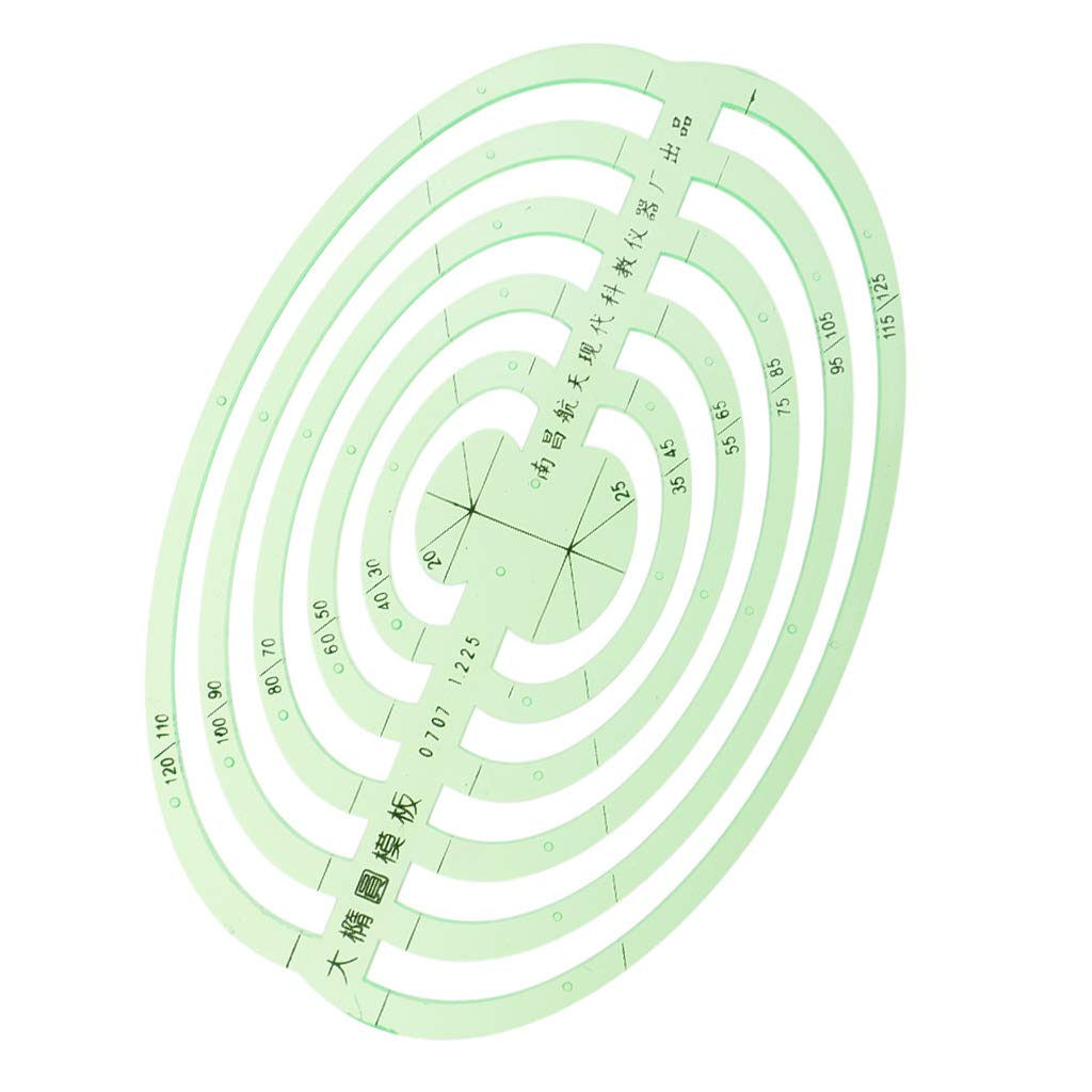 SM SunniMix 1 Pc Plastic Green Measuring Templates Geometric Rulers for Office and School, Building formwork, Drawings templates - Large Oval by SM SunniMix (Image #3)